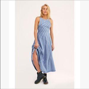 Free People Blue Jean Baby Denim Maxi Dress. NWT